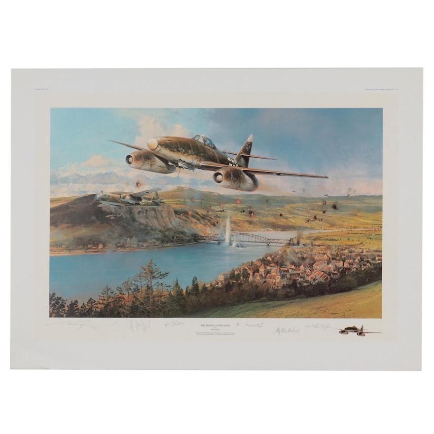 """Robert Taylor Offset Lithograph """"The Bridge at Remagen"""""""