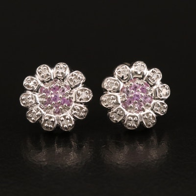 EFFY 14K WHITE GOLD DIAMOND, PINK SAPPHIRE EARRINGS