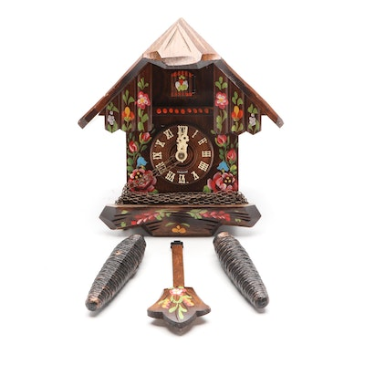 German Hand-Painted Cuckoo Clock, Mid to Late 20th Century