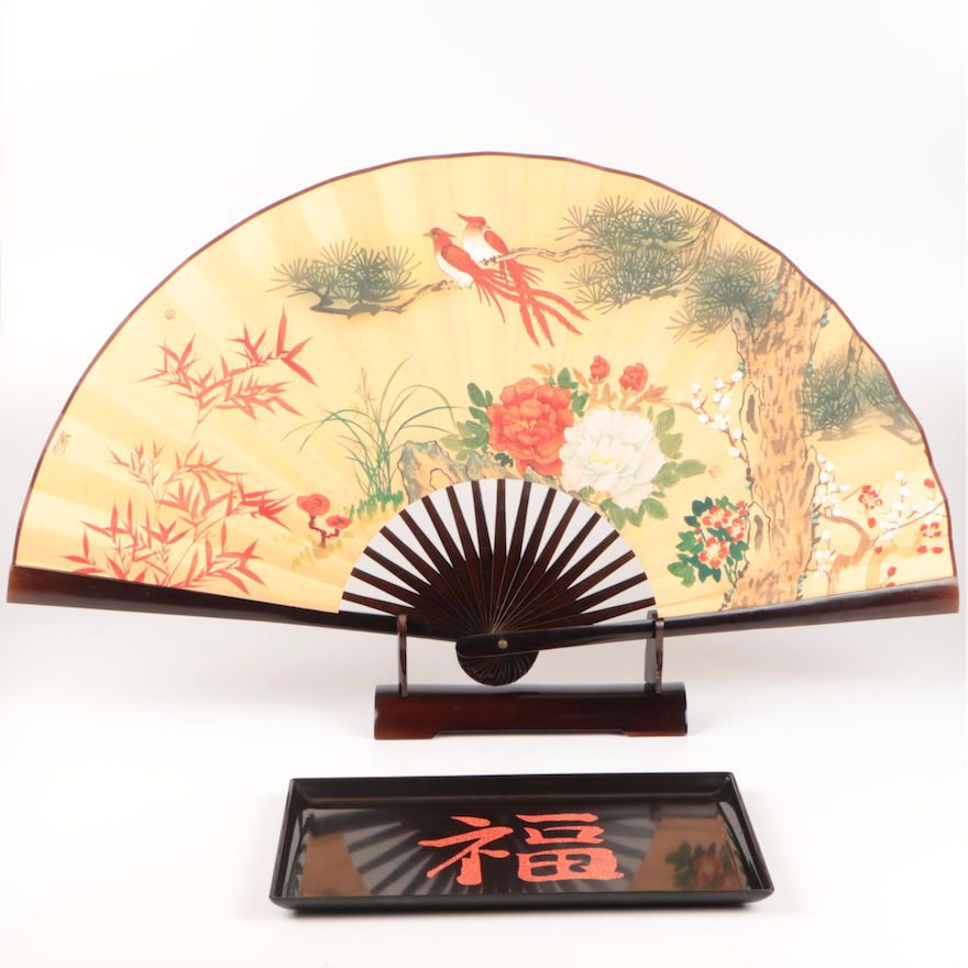 Couroc Lacquerware Tray and Japanese Hand Fan Decoration
