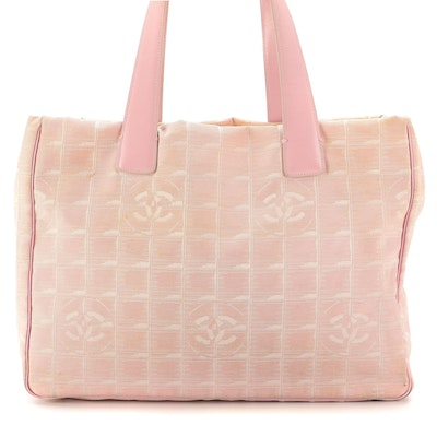 Chanel Travel Line Tote in Pink Jacquard and Smooth Leather