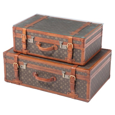 Coated Canvas and Leather Luggage Suitcase Table with Glass Top