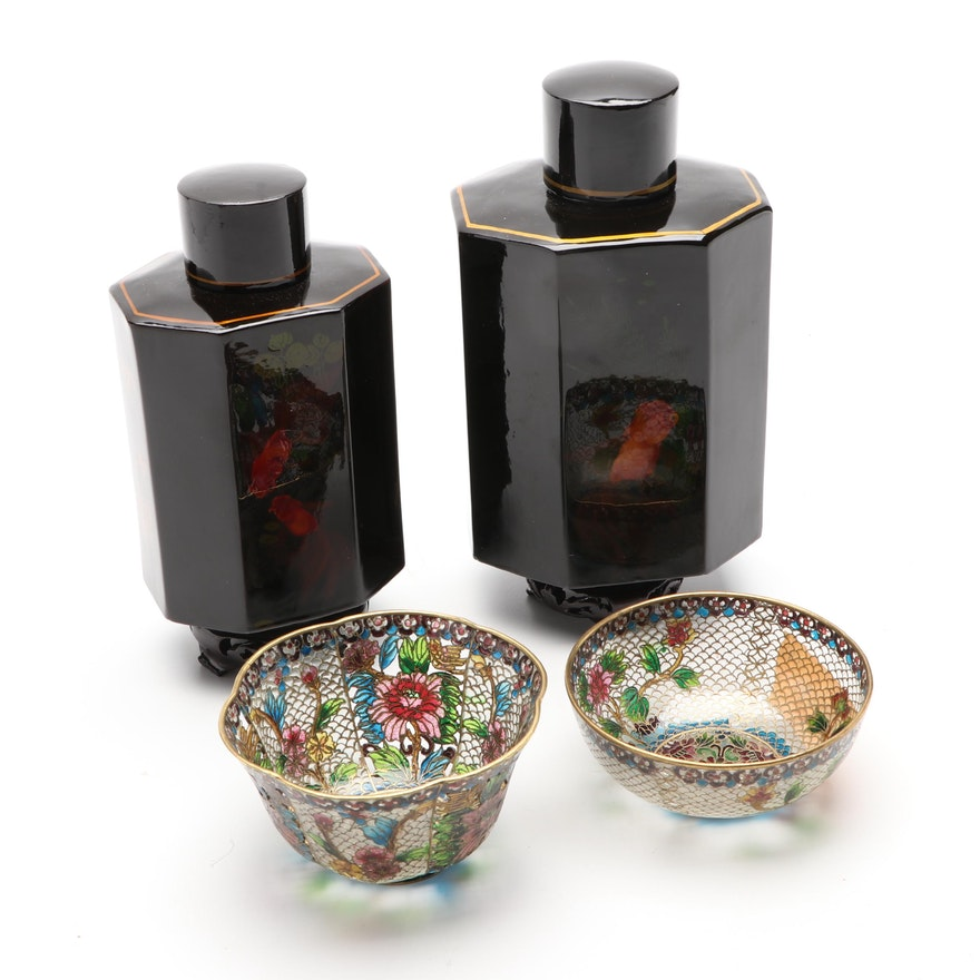 Plique-a-Jour Enamel Chinese Teacups with Tole House Painted Tin Tea Canisters