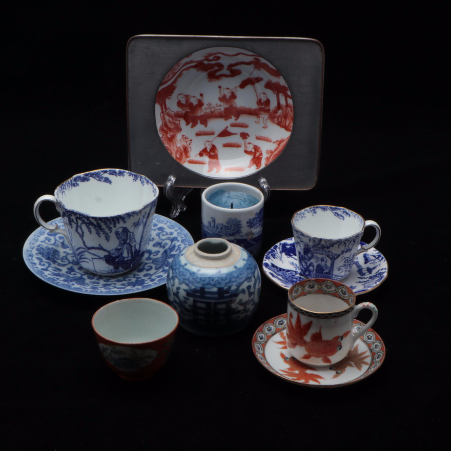 """Royal Crown Derby """"Mikado"""" Demitasse and Other English and Chinese Tableware"""