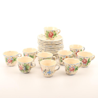 Hand-Painted Floral Ceramic Cups and Saucers, Mid-20th Century