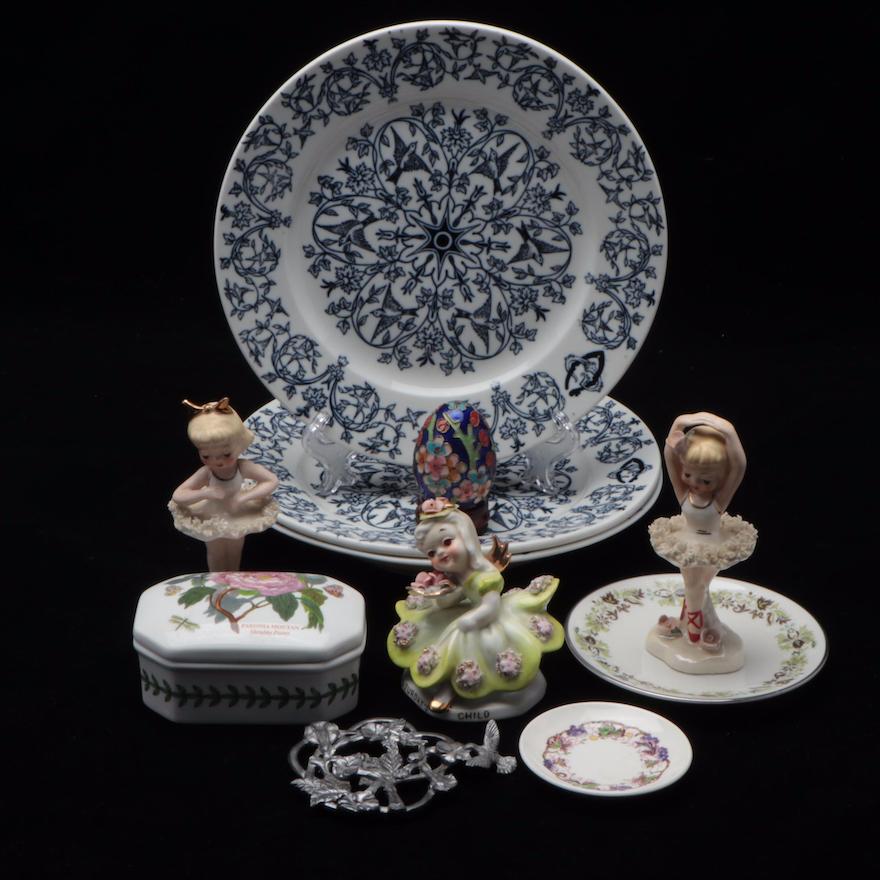 Portmeirion, Wedgwood, and Royal Doulton Porcelain Plates and Décor