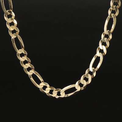 Sterling Figaro Chain Necklace