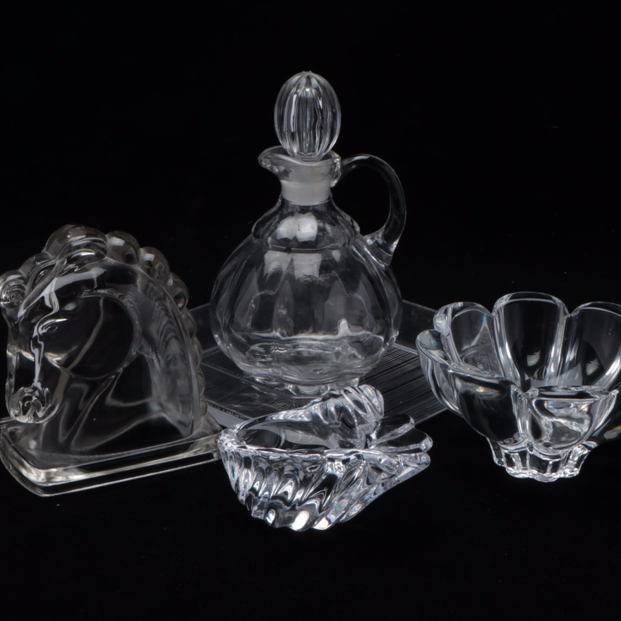 Vannes Crystal Bowl and Other Crystal and Glass Decor, Mid to Late 20th Century