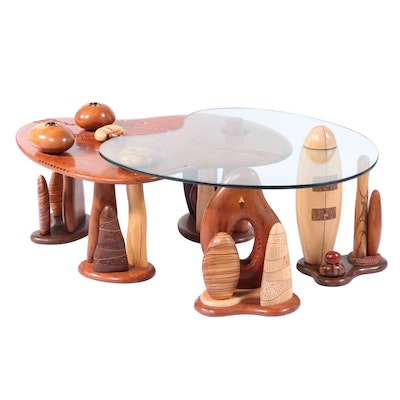Steven Spiro Specimen Wood, MOP, and Fossil-Inlaid Mixed Hardwood Coffee Table