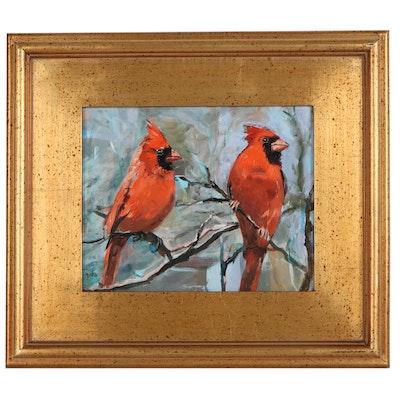 """Adam Deda Oil Painting """"Birds in the Wintertime,"""" 2021"""