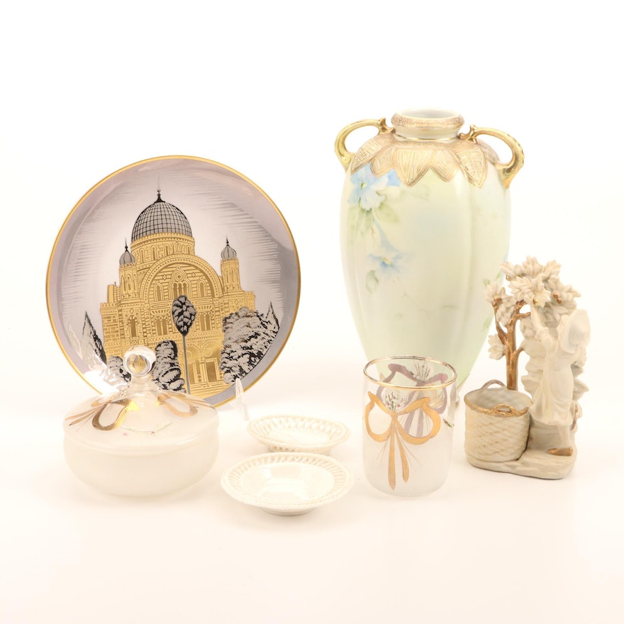 Nippon Porcelain Vase and Other Decorative Accents, 20th Century