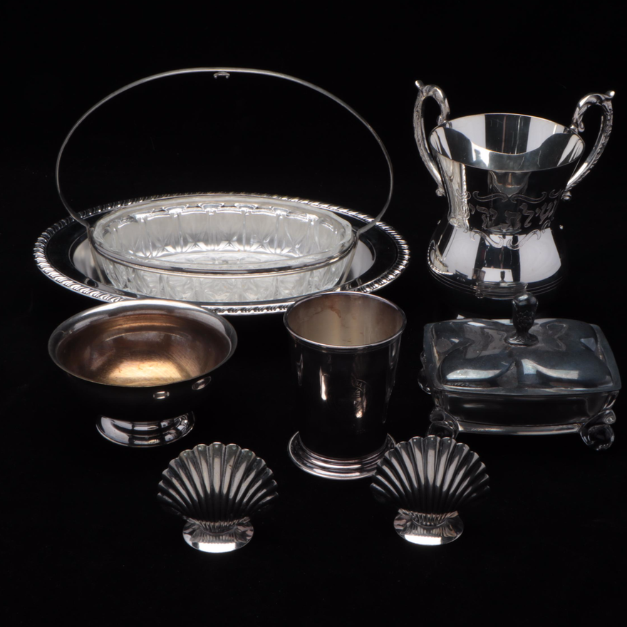 Glass and Silver Plate Centerpiece Basket and Other Silver Plate Tableware