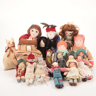 Raggedy Ann and Andy with Other Cloth Dolls
