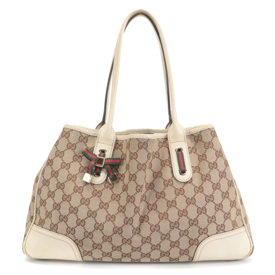 Gucci Princy GG Canvas and Ivory Leather Shoulder Bag