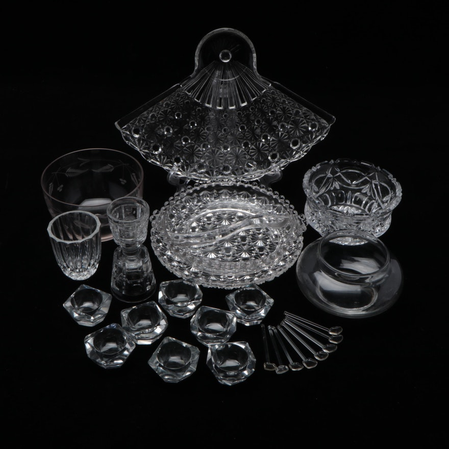 Candlewick and Other Glass Table Accessories Including Open Salts, Vintage