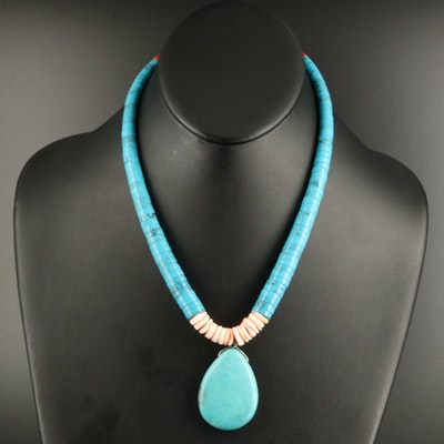 Magnesite and Shell Beaded Necklace with Sterling Clasp