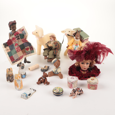 Daddy's Keepsakes Doll, Clown, Bunny, Lambs, and Other Figurines
