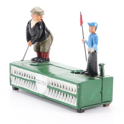 "Cast Iron Painted Mechanical ""Golfer"" Coin Bank"