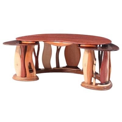 Steven Spiro Specimen Wood, MOP, and Fossil-Inlaid Mixed Hardwood Desk