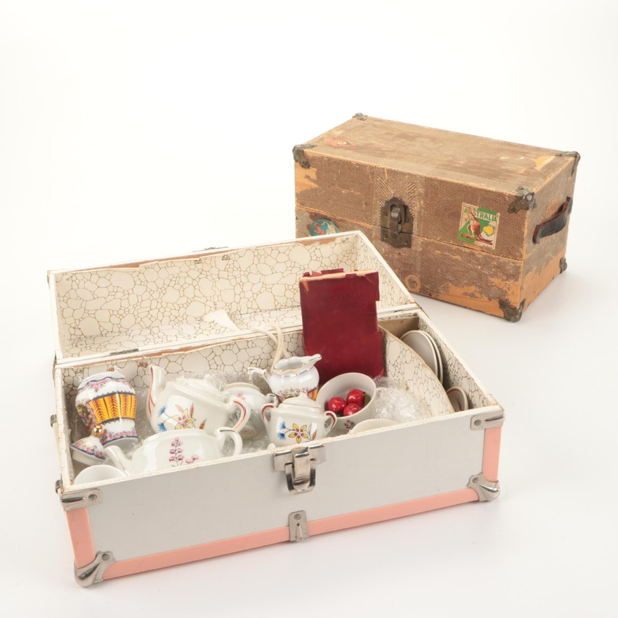 Child's Porcelain Play Tea Sets with Trunks