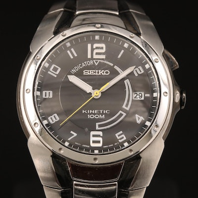 Seiko Kinetic 100M with Indicator Stainless Steel Wristwatch