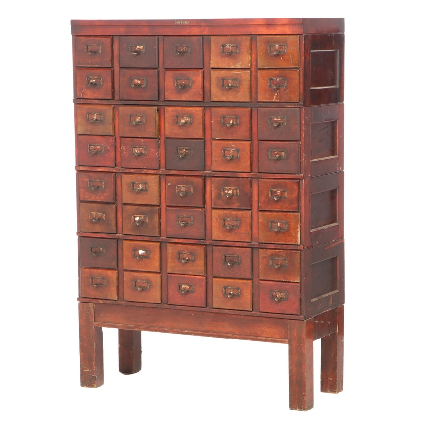 Shaw-Walker Birch Forty-Drawer Stacking Card File Cabinet, Early 20th Century