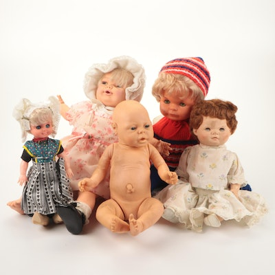Doll with Handmade Crotched Outfit, Bonnet and Dresses