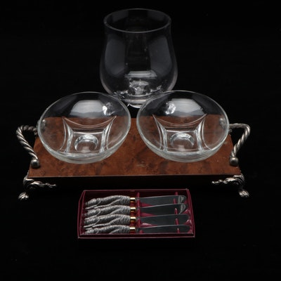 Glass Serving Bowls and Tray with Cat-Handled Cocktail Knives