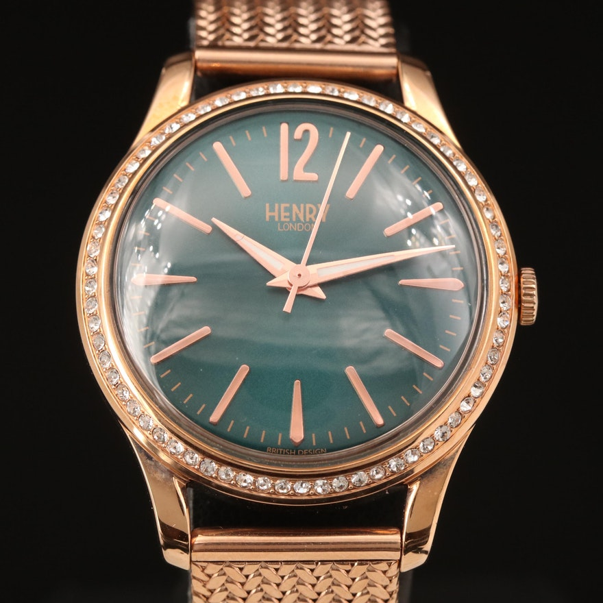 Henry Rose Gold Tone Quartz Wristwatch with Glass Crystal Accents