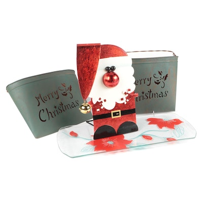 Metal Santa Claus Display with Poinsettia Tray and Other Christmas Décor