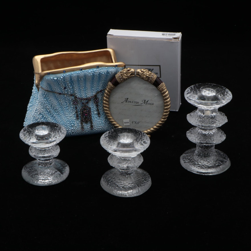 "Iittala ""Festivo"" Glass Candlesticks, Ceramic Purse, and Ashleigh Manor Frame"