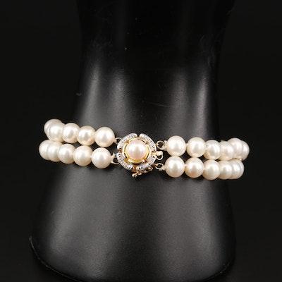 14K Pearl and Diamond Double Strand Bracelet