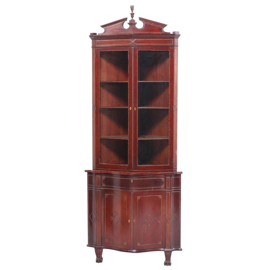 Mahogany and Line-Inlaid Corner Cabinet, Late 19th Century
