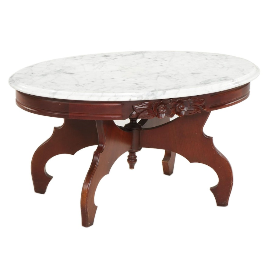 Victorian Style Walnut-Stained Wood and Marble Top Oval Coffee Table