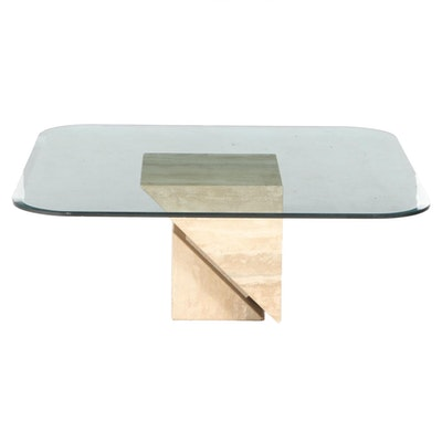 Modernist Style Travertine and Glass Top Side Table