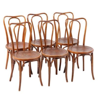 Six J. & J. Kohn Austrian Bentwood and Pressed Seat Bistro Chairs