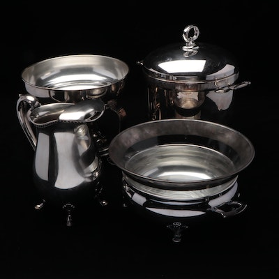 Silver Plate Chafing Dishes, Pitcher, and Ice Bucket