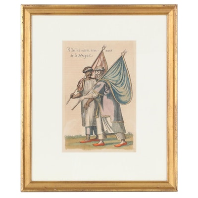 Hand-Colored Engraving After Nicolas de Nicolay of Historical Illustration
