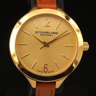 Stührling 23K Gold Plated Stainless Steel Double Wrap Wristwatch