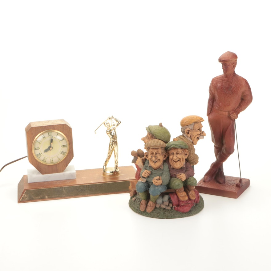 1976 Golf Trophy Clock and Resin Figurines