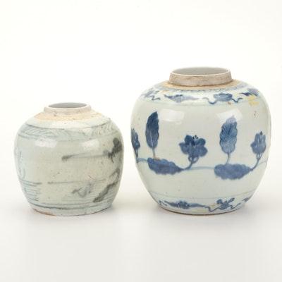 Chinese Swatow or Zhangzhou Style Ginger Jars