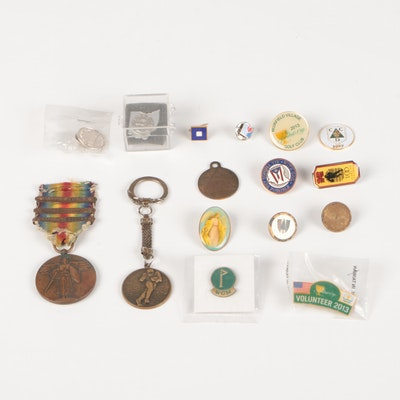 World War One Medal with Various Golf Pins and Buttons