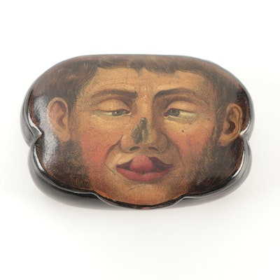 French Hand-Painted Papier-Mâché Character Snuff Box, 19th Century