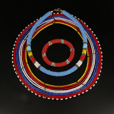 African Maasai Tribe Glass Beaded Collar Necklaces and Bracelet