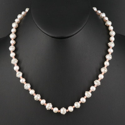 Sterling Silver Pearl and Rhinestone Necklace