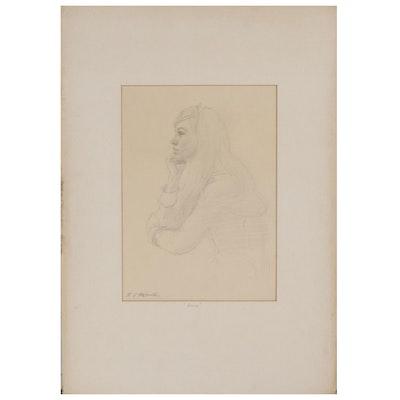 "Edmond James Fitzgerald Graphite Drawing ""Anne"""