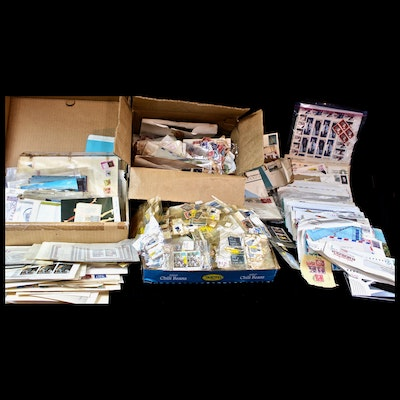 Large Grouping of U.S. and World Postal Covers, Stamps, and Postcards