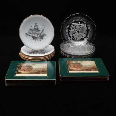 Kungsholmsservisen Porcelain Plates, Embossed Glass Plates, and Service Boards