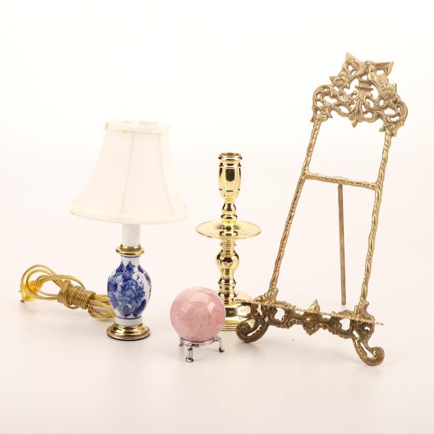 Small Porcelain Lamp, Brass Candlestick, Brass Frame Easel and Rose Quartz Orb
