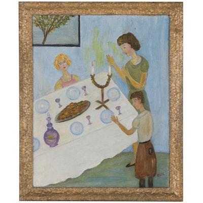 Naive Oil Painting of a Shabbat Scene, Mid-20th Century